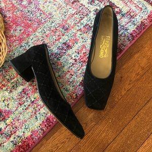 Vintage ferragamo black suede block square heels